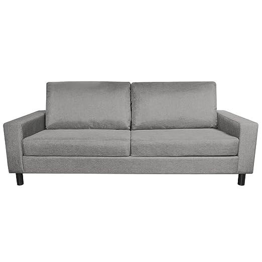 Luckyfu questo sofá de 3 plazas de Tela Gris Claro.Questo ...