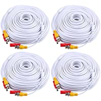 ANNKE (4) 150 Feet Video Power Cable For Security Camera System, All-in-One BNC Video and Power CCTV Security Camera Cable with Two Female Connectors (White)