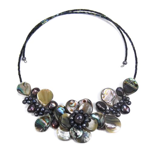 Lotus Wreath Abalone Shell Cultured Freshwater Pearl Memory Wire Wrap Necklace - Abalone Cultured Pearl Necklace