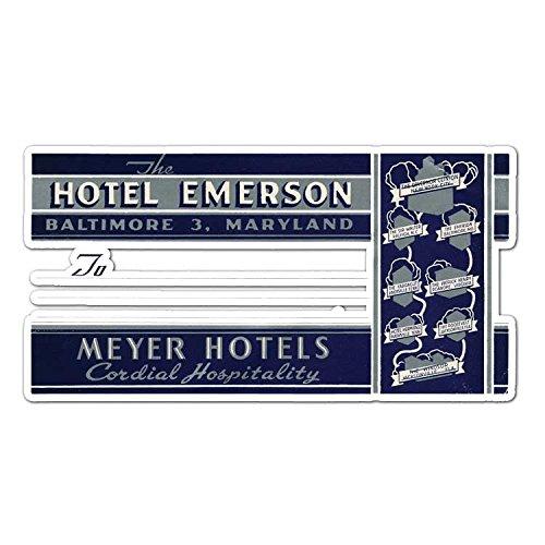 Maryland Hotel - Hotel Emerson Maryland - Vintage Travel Label - Vinyl Decal Sticker - 7.3