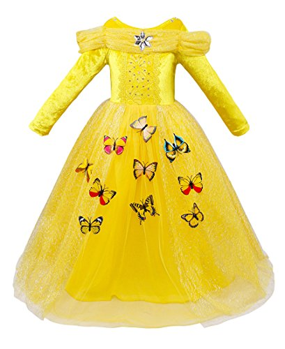 Girls Princess Cinderella Costume Dress up Yellow Butterfly Party Costume for Halloween Yellow Butterfly Party Dresses for Halloween Christmas 8-10 years Old -