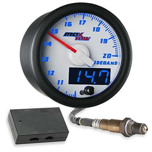 MaxTow Double Vision Wideband Air/Fuel Ratio AFR Gauge Kit - Includes Oxygen Sensor, Data Logging Output & Weld-in Bung - White Gauge Face - Blue LED Dial - Analog & Digital Readouts - 2-1/16