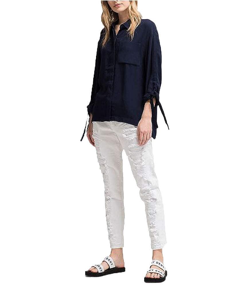 DKNY Tie-Sleeve High-Low Shirt
