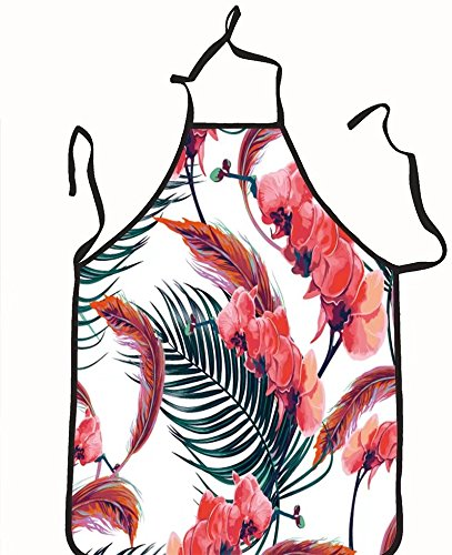 chanrancase tailored apron tropical flowers palm leaves orchid flower pi Children, unisex kitchen apron, adjustable neck for barbecue 17.7x26.6+10.2(neck) INCH