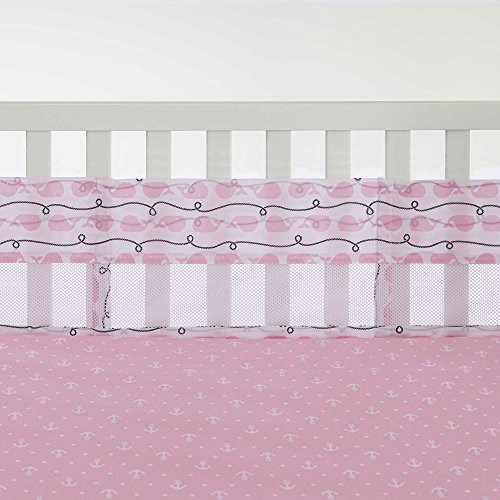 Nautica Kids Nursery Separates Whale/Rope Print Secure-Me Crib Liner, Pink/Navy/White