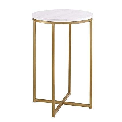 Amazon.com: Mesa de centro de mármol mesa de salón de acero ...
