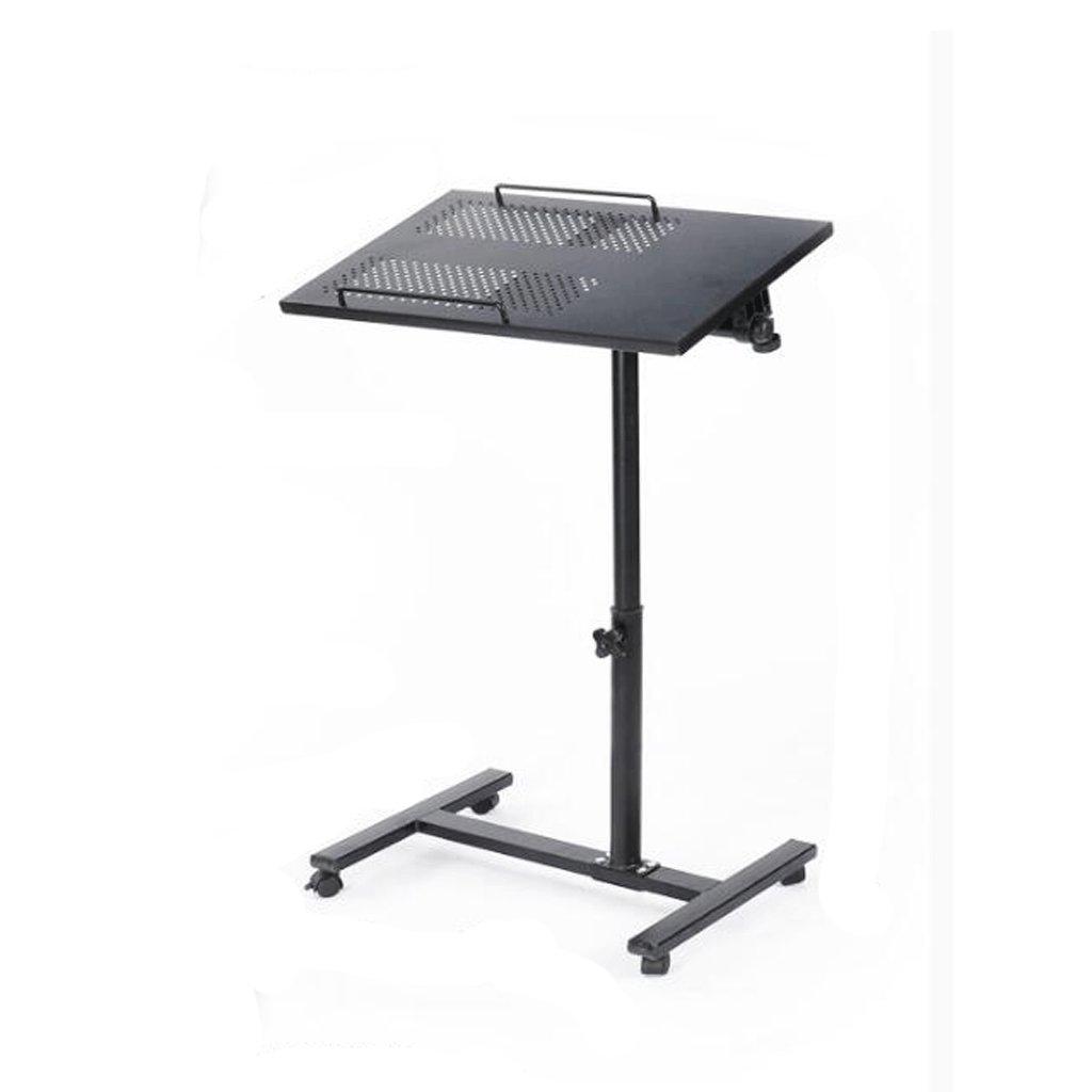 GAOLILI スチールシンプルな怠惰なテーブルベッドサイドコンピュータデスク折りたたみノートブックコンピュータデスクベッドコンピュータデスクオプションリフト可能な小さなスペース小さな良い選挙 (色 : ブラック) B07DNTCNPDブラック