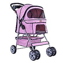 4-Wheels Pet Dog Cat Stroller w/Rain Cover