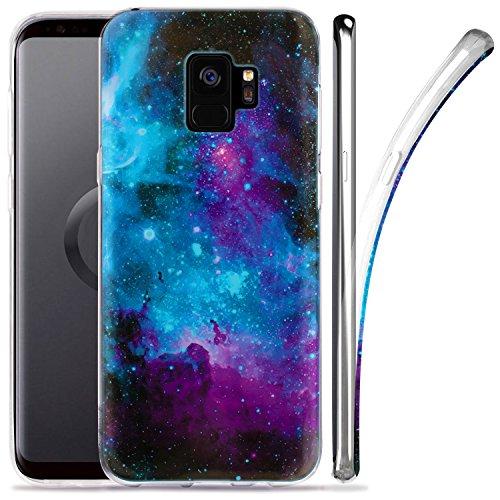 Galaxy S9 Case, ZUSLAB Nebula Pattern Design, Slim Flexible Shockproof TPU, Soft Rubber Silicone Glossy Skin Cover for Samsung Galaxy S9, 2018 (Purple Nebula)