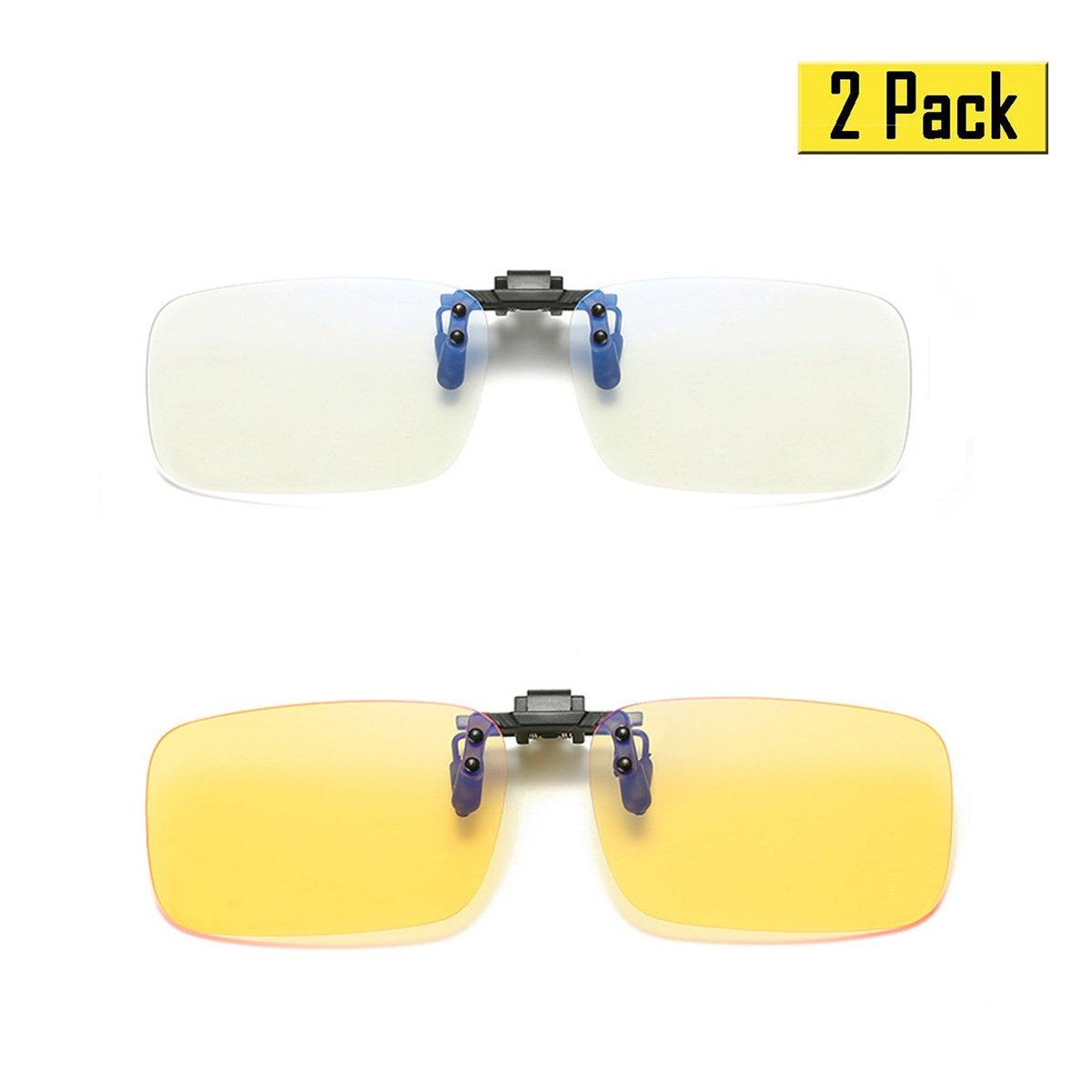 Phaedra FU Blue Light Filter Clip-on Computer Reading Glasses Strain Relief Anti-glare Radiaton Protection Eyewear (2 Pack(1 Transparent 1 Yellow))