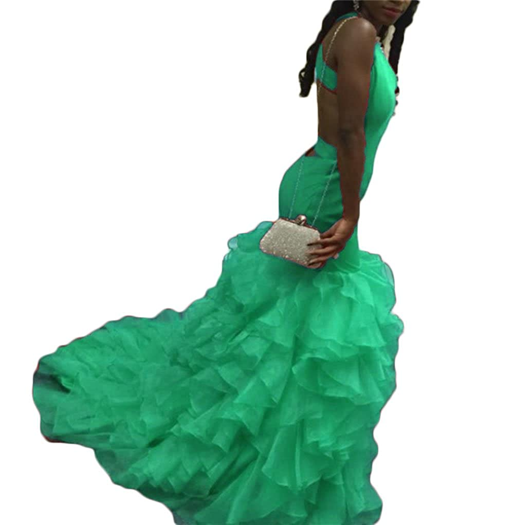 Green Dydsz Women's Sexy Mermaid Long Prom Party Dresses V Neck Backless Plus Size D28