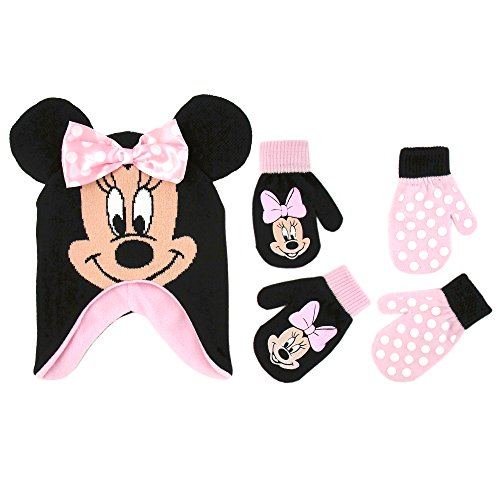 Minnie Mouse Polka Dot Hat and 2 Pairs Mittens or Gloves Cold Weather Accessory Set, Ages 2-7 (Toddler Girls Age 2-4 Hat & 2 Pair Mittens Set, Black/Light Pink) ()
