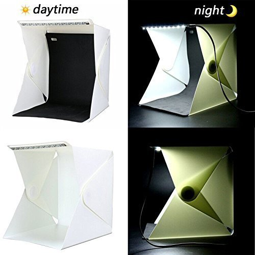 Hansemay Kleine Portable Faltbare Foto Studio Schießen Zelte, Eingebaute Mini-LED Lightbox Fotografie Schießen DIY Zelt Kit mit 2 Stück Backdrops Hintergrund Pads (Weiß & Schwarz) (8,9×9,06×9,45 (Zoll))