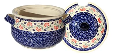 Polish Pottery Soup Tureen with Ladle Zaklady Ceramiczne Boleslawiec 1004/1367-963 Classic Pattern, 13.4 Cups