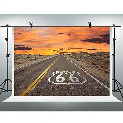 FHZON 10x7ft Highway Route 66 Photography Background Sunset Glow Backdrop Themed Party Photo Booth Video Props LSFH669]()