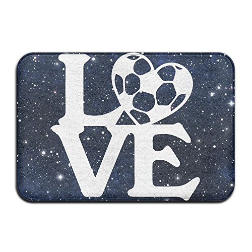 Youbah-01 Indoor/Outdoor Doormat With Love Soccer-1 Printed For Dining Hallway Bathroom by Youbah-01