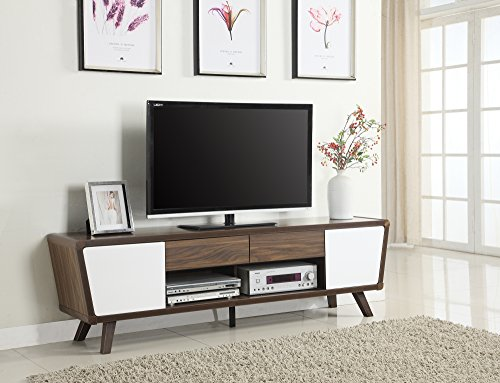 Coaster 700793-CO Furniture Piece, Chestnut/Glossy White Modern Traditional Tv Stand