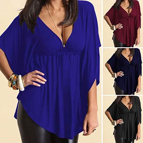 WYHUI Women's Fashion Sexy Blouse T-Shirt Short Sleeve Loose V-Neck Tops Blouse Plus Size Royal Blue XL