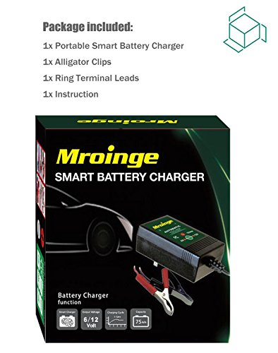 Mroinge automotive trickle battery charger maintainer 12V 1A for car motorcycle Lawn Mower SLA ATV WET AGM GEL CELL Lead Acid Batteries, Smart battery charger is tender charge for protect your battery by Mroinge (Image #6)