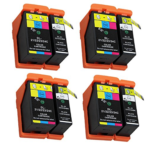 ESTON 8 Pack Compatible Hi-Yield Ink Cartridge for Dell Series 21 22 23 24 P513w P713w V313 V715w v515w