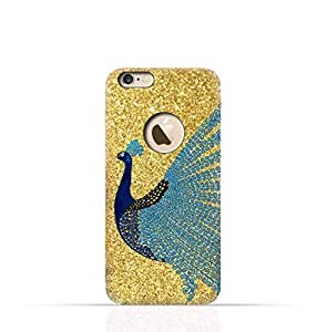 Apple iPhone 8 TPU Silicone Case with Gold Glitter Dual Layer Blue Peacock Design