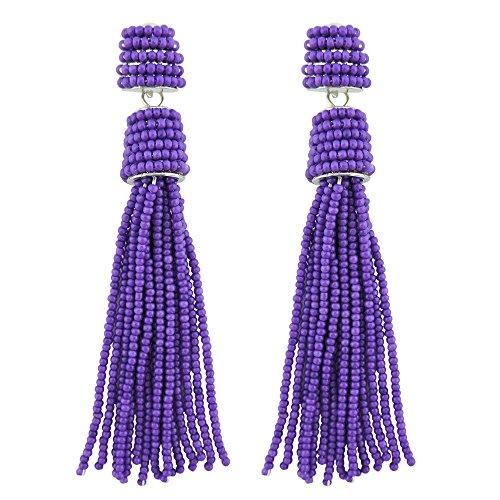 Coiris Handmade Beads Tassels Fringe Dangle Drop Earrings For Women (ER1093) (Lavender) (Lavender Beads Earrings)