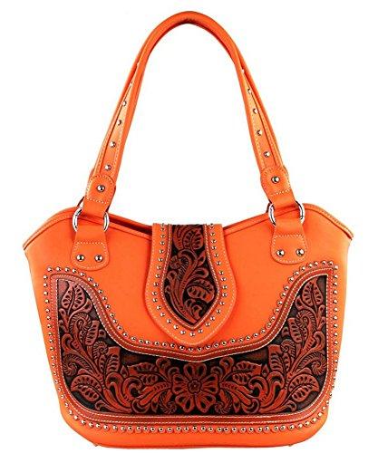 Montana West Ladies Concealed Gun Handbag Tooled Genuine Leather (Coral)