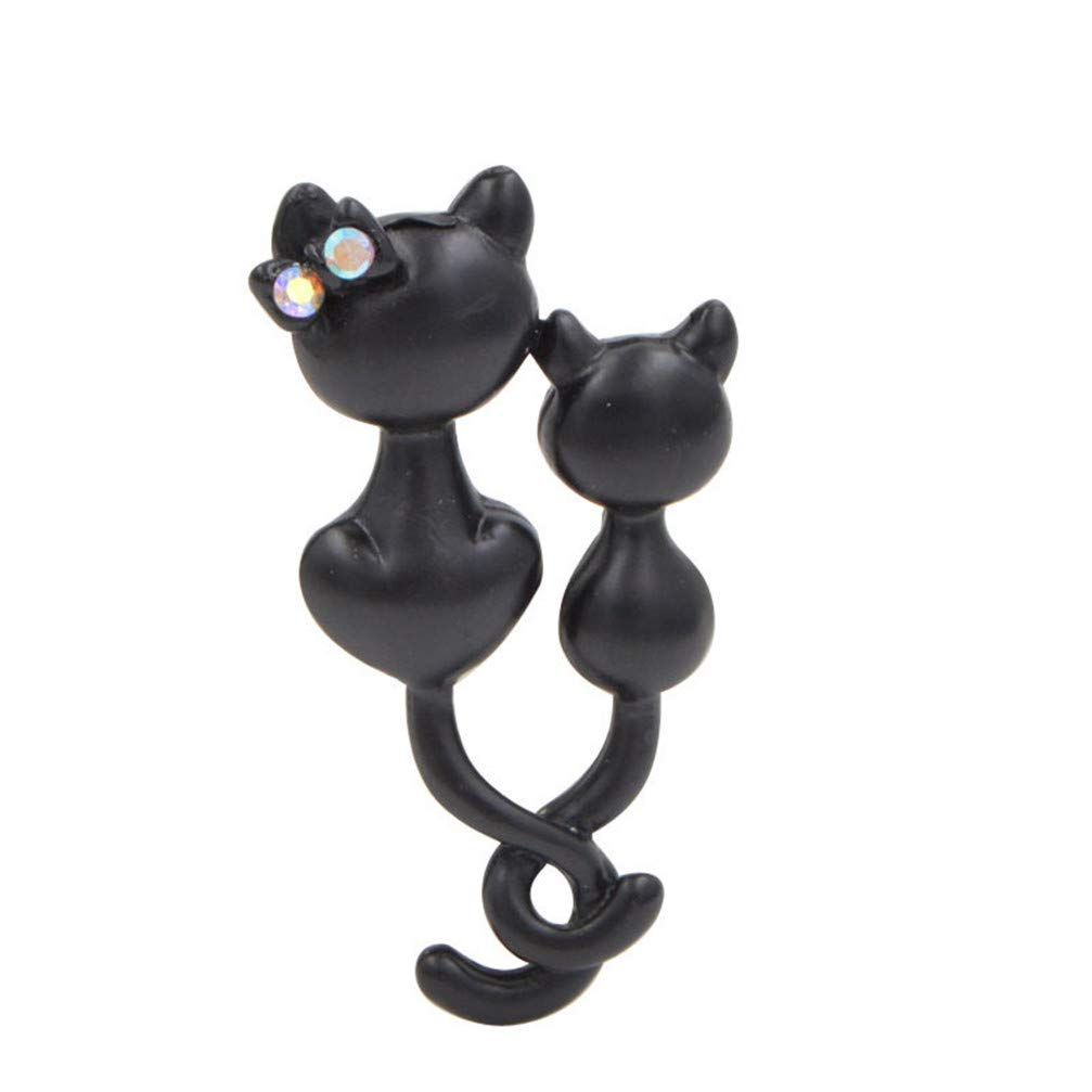 GF.DTR Black Color Enamel Cat Brooches for Women Mom and Kids Kitty Brooch Pin Fashion Animal Jewelry