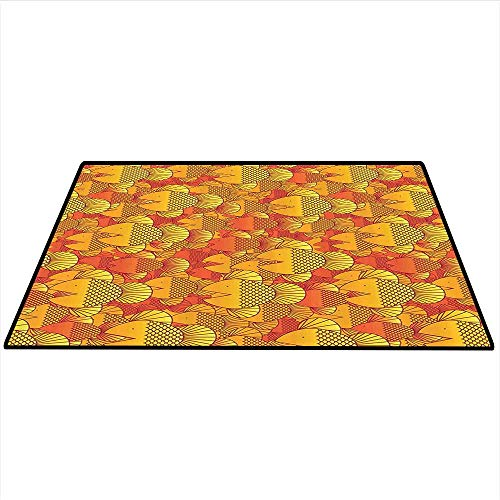Burnt Orange Decor Collection Print Area Rug Contemporary Illustration of Group of Swimming Goldfish Random Retro Style Home Artwork Indoor/Outdoor Area Rug 4