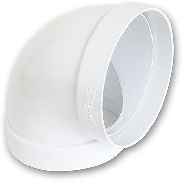 Curva 90 ° Circular D/125 para ventilación canalizzata para tubo redondo, casquillo hembra – hembra de PVC color blanco: Amazon.es: Bricolaje y herramientas