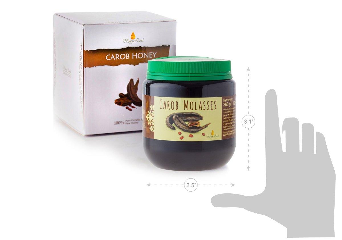 Honey Land 100% Pure Organic Carob Syrup Molasses– Super Healthy & Naturally Sugar Free Chocolate Alternative – Unique Handmade Family Recipe - Safe for Diabetics 360g |12.6oz by Honeyland