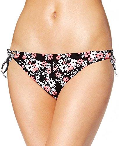 Hipster Print Tie (California Waves Women's Juniors Daisy-Print Keyhole Side Tie Hipster Bikini Bottom, Multi, Medium)