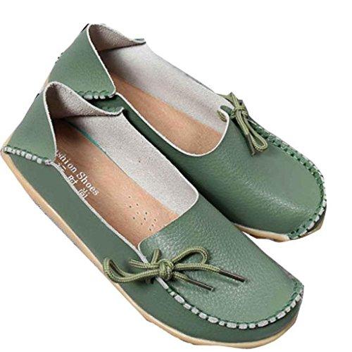 Verde mocasines suave de mujer mujer cuero Zapatos Ularma pisos ocio casuales de WqnP8TX