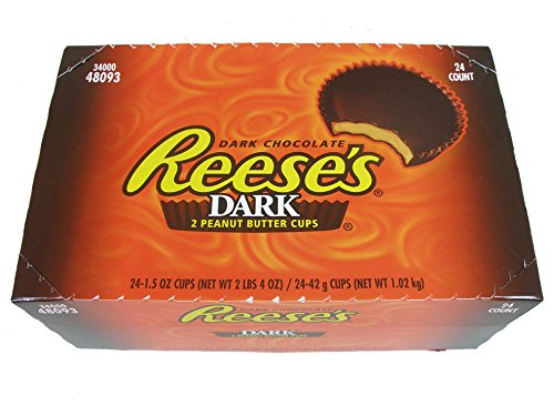 Reese's Dark Chocolate Peanut Butter Cups, 1.5 Ounce Cups, 24 Count Box, Pack of 2