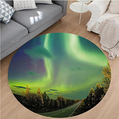 """Nalahome Modern Flannel Microfiber Non-Slip Machine Washable Round Area Rug-hts Highway Road Nordic Rays of Sky Surreal Sun Atmosphere Image Blue Lime and Fern Green area rugs Home Decor-Round 59"""""""