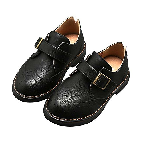 F-OXMY Toddler Boy Wing-Tip Oxford Dress Shoes Kids Slip-on Non-Slip Walking Casual Shoes Black by F-OXMY