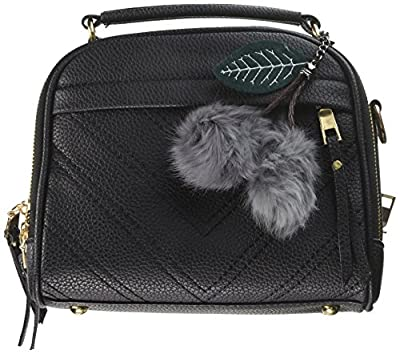 Women Leather Bag Top-handle Tote Ladies Bags Cross body Bags with Pompon