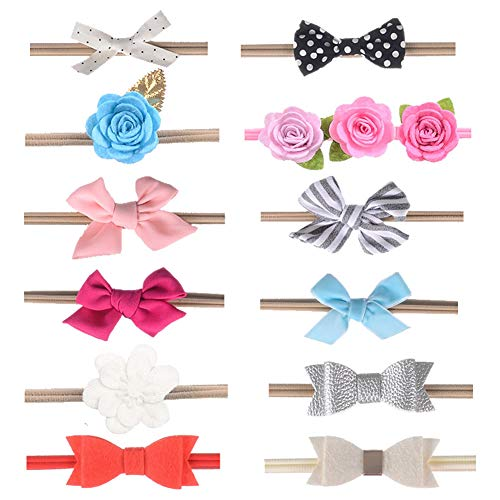 (inSowni Assorted 12 Pack Flower Bow Nylon Headbands Hair Accessories for Newborn Baby Girl Toddlers Kids (12PCS S2))