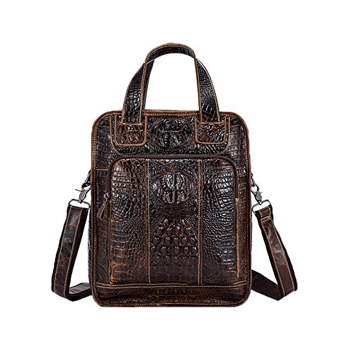 - Genda 2Archer Men's Crocodile Embossed Leather Shoulder Handbag Backpack
