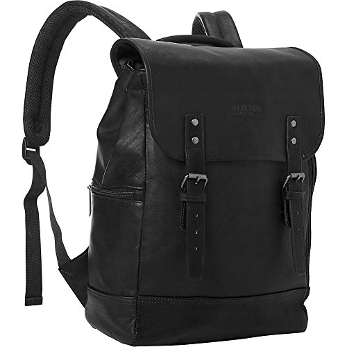 Black Leather Wrapped Snap (Kenneth Cole Reaction Colombian Leather Single Gusset Flapover Computer Backpack, 14.1
