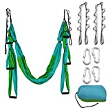 OUTDOOR SKY Aerial Yoga Swing – Ultra Strong Antigravity Yoga Hammock/Trapeze/Sling/Inversion Tool for Air Yoga Inversion Exercises – 2 Extensions Straps Included (Blue & Green) For Sale