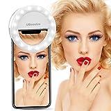 UBeesize Compatible Selfie Ring Light iPhone & Phone, UBeesize Clip on Led Camera Light [3-Level Brightness] [Rechargeable Battery] Smartphones