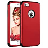 iPhone 6 Case iPhone 6S Case YINLAI Shockproof 3 in 1 Slim Hybrid Heavy Duty Hard PC Back Cover Soft Silicone Rubber Bumper Full Body Protective Phone Cases for 4.7 inch Apple iPhone 6/6S Black/Red