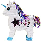 "Aztec Imports Stardust Unicorn Pinata with Shiny Mane and Star Window, 20"" Party Game and Decoration, White"