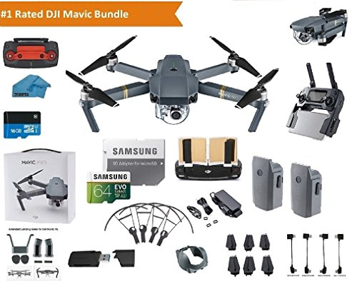 DJI Mavic Pro Drone Quadcopter 4K Professional Camera Gimbal Bundle Kit with 2 Batteries, 64GB SD Card + 3.0 Card Reader, Landing Gear, Prop Guards and Must Have - Maverick Pro
