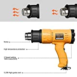 SEEKONE Heat Gun Heave Duty Hot Air Gun 1800W with 2-Temperature Settings 4 Nozzle Attachments 122℉~ 1202℉(50℃- 650℃)for Stripping Paint, Bending Pipes, Lighting BBQ
