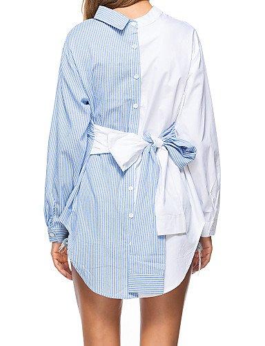 Cuello Chic A Yfltz Con Black Algodón De Mujer Rayas Cuadrado Para Camisa aaRSH