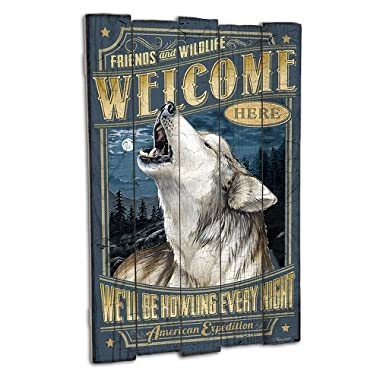 American Expedition Gray Wolf Wooden Cabin Sign