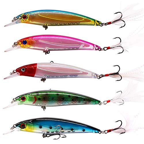SUPERTHEO Fishing Lures Plastic Minnow Spoons Crankbaits VIB Topwater Sinking Fishing Baits (Model-E)