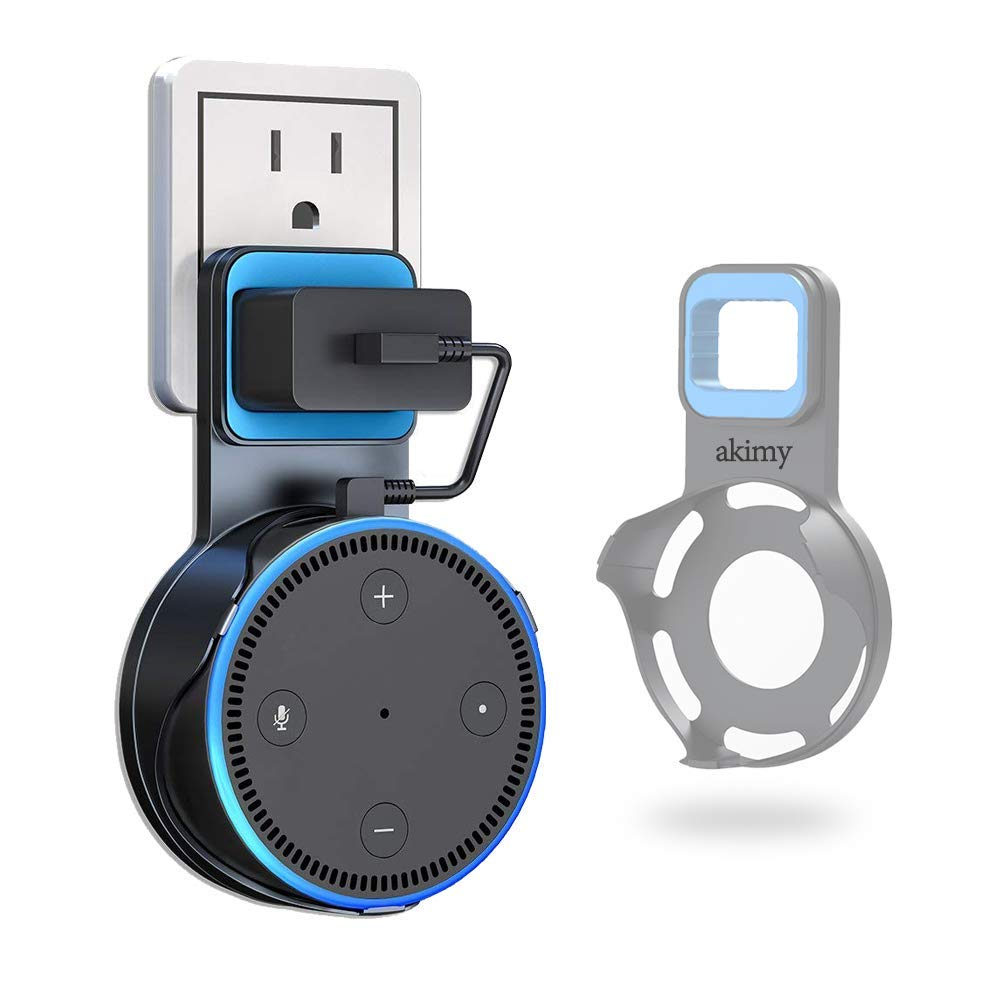 Echo Dot Case,Himaner Wall Mount Hanger Stand for Echo Dot 2nd Generation - Only Fits The Power Adaptor of 2016 Release,A Space-Saving Holder for Home Voice Assistant - Black